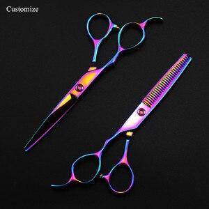 Image 2 - 5 kolorów dostosuj japonia 440c lewa ręka 6 cięcia nożyczki do włosów zestaw do cięcia fryzjer strzyżenie nożyce do cieniowania fryzjer nożyczki