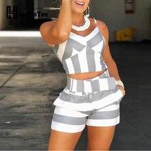 Women Colorblock Striped Cami Tops & Shorts Sets Ladies Casu