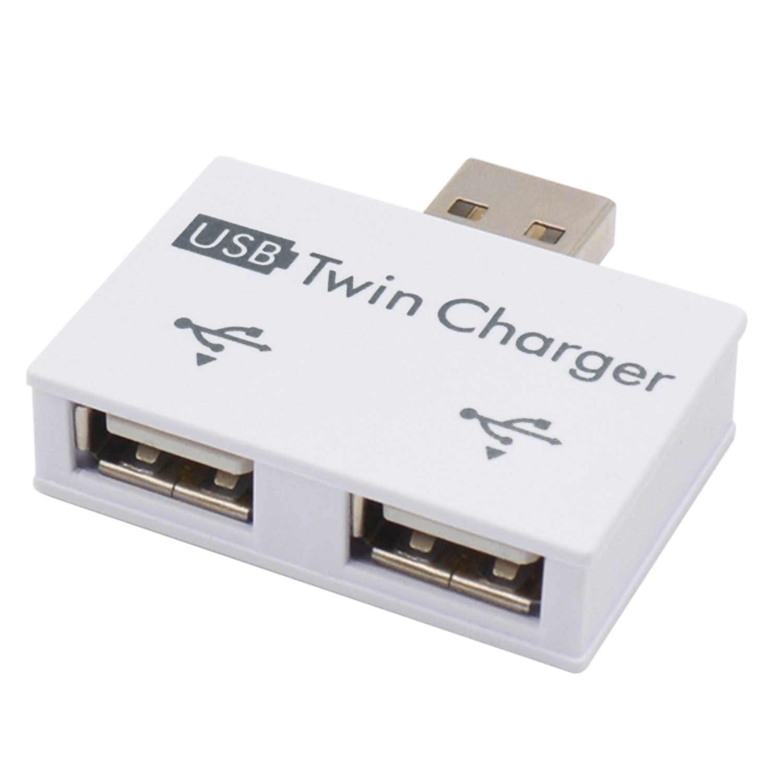 Elisona USB double chargeur USB à 2 ports adaptateur de charge séparateur Hub pour téléphones mobiles ordinateurs U disque