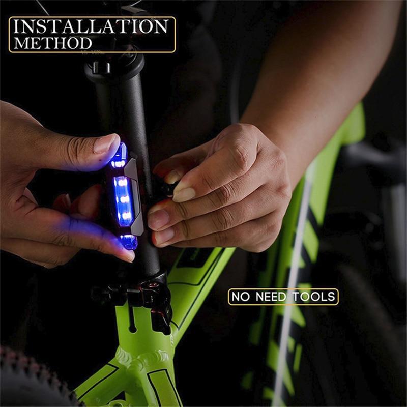 Baru Sepeda USB Lampu LED Lampu Belakang Belakang Ekor Peringatan Bersepeda Portable Ringan gaya Usb Isi Ulang atau Baterai Gaya