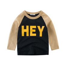 Boys T Shirt Tops Spring Long-Sleeve  Toddler Baby Girls Letter Cotton Fashion Autumn Clothing for 2-8 Years