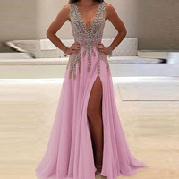Summer Lady Deep V Dress Sexy Perspective Long Dress Birthday Banquet Hosting Party Dress