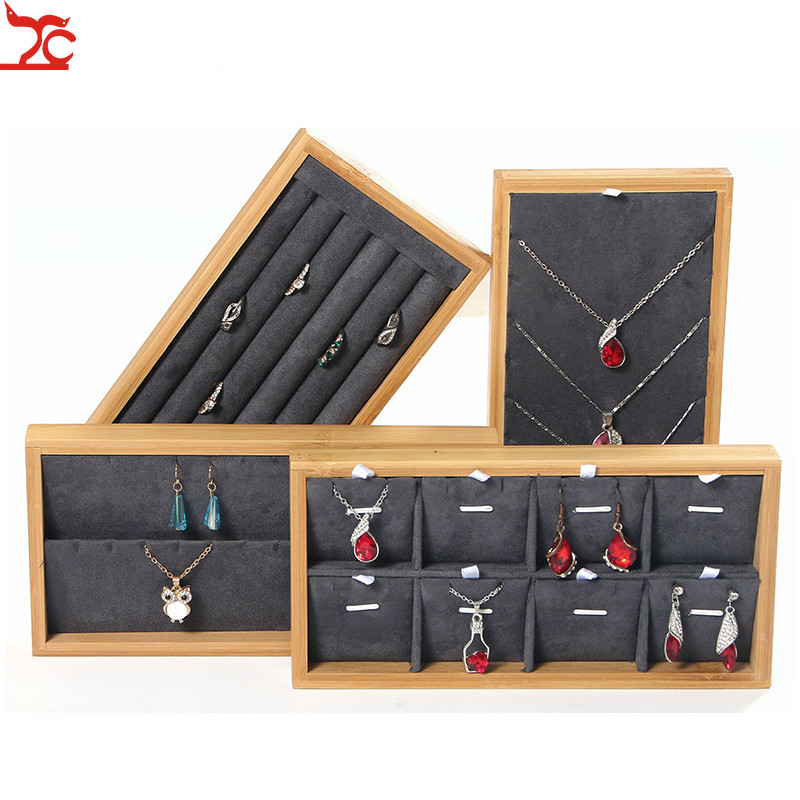 Bamboo Wood Ring Necklace  Jewelry Tray Pendant Bracelet Earring Jewelry Display Storage Box Jewelry Display Props