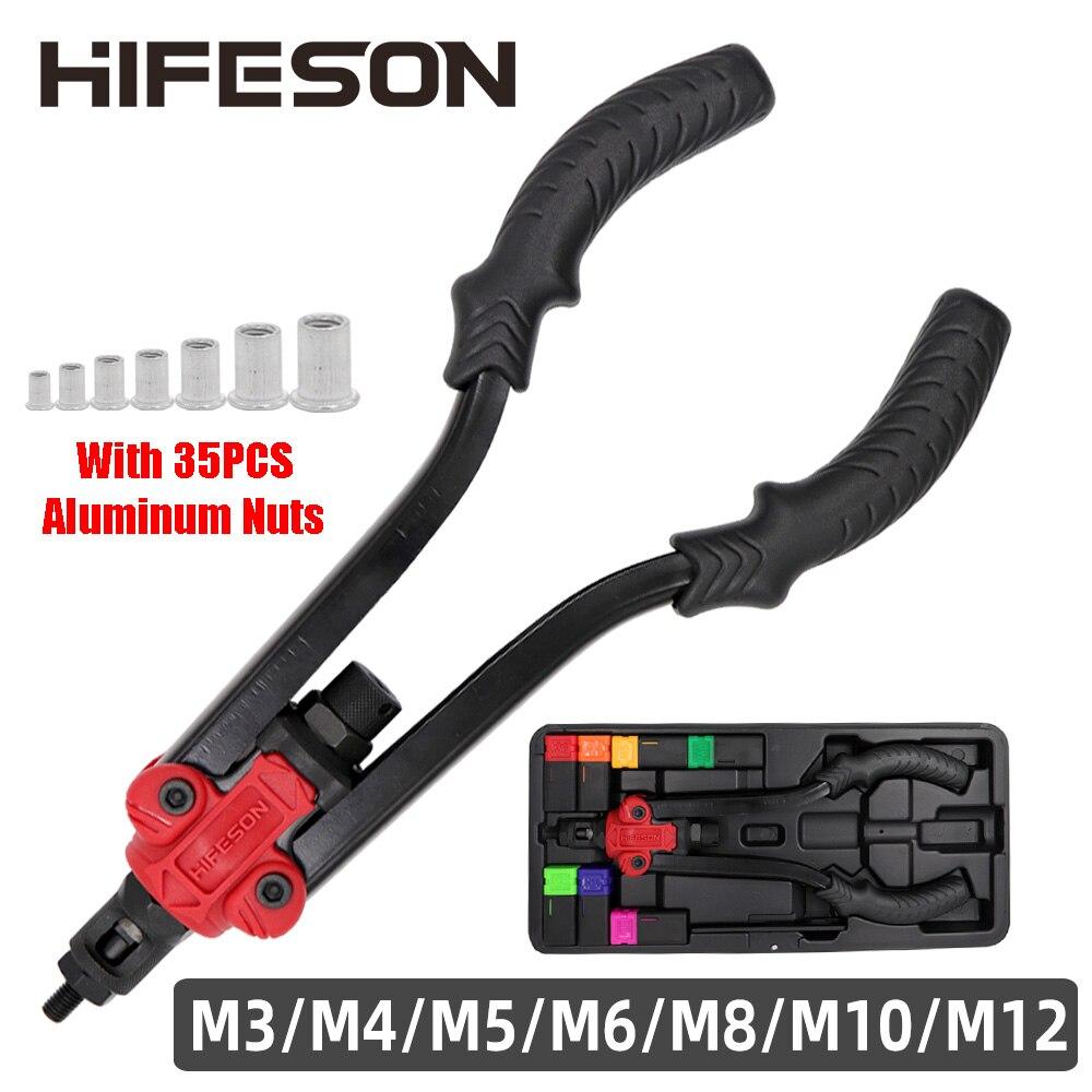 Hifeson 619Gun Moer-Tool Klinknagel-Moer Insert Schroefdraad Opspandoorns Handleiding Riveters Moer Gun Voor Klinken Rivnut Tool M3-M12 noten Toolbox