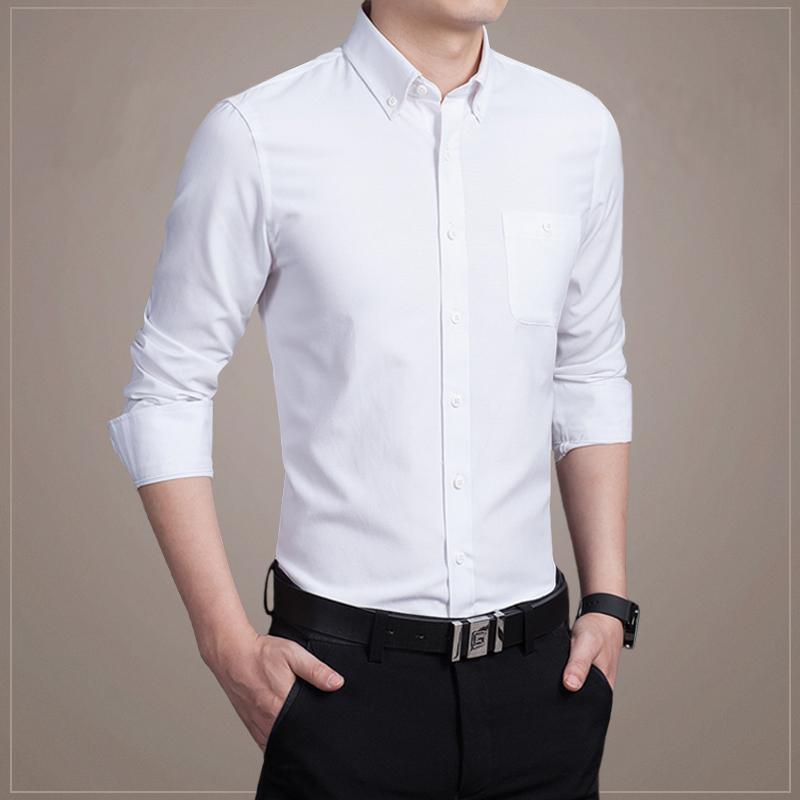 2019 New Men Shirts Business Long Sleeve Turn-down Collar 100% Cotton Male Shirt Slim Fit Popular Design M-5XL