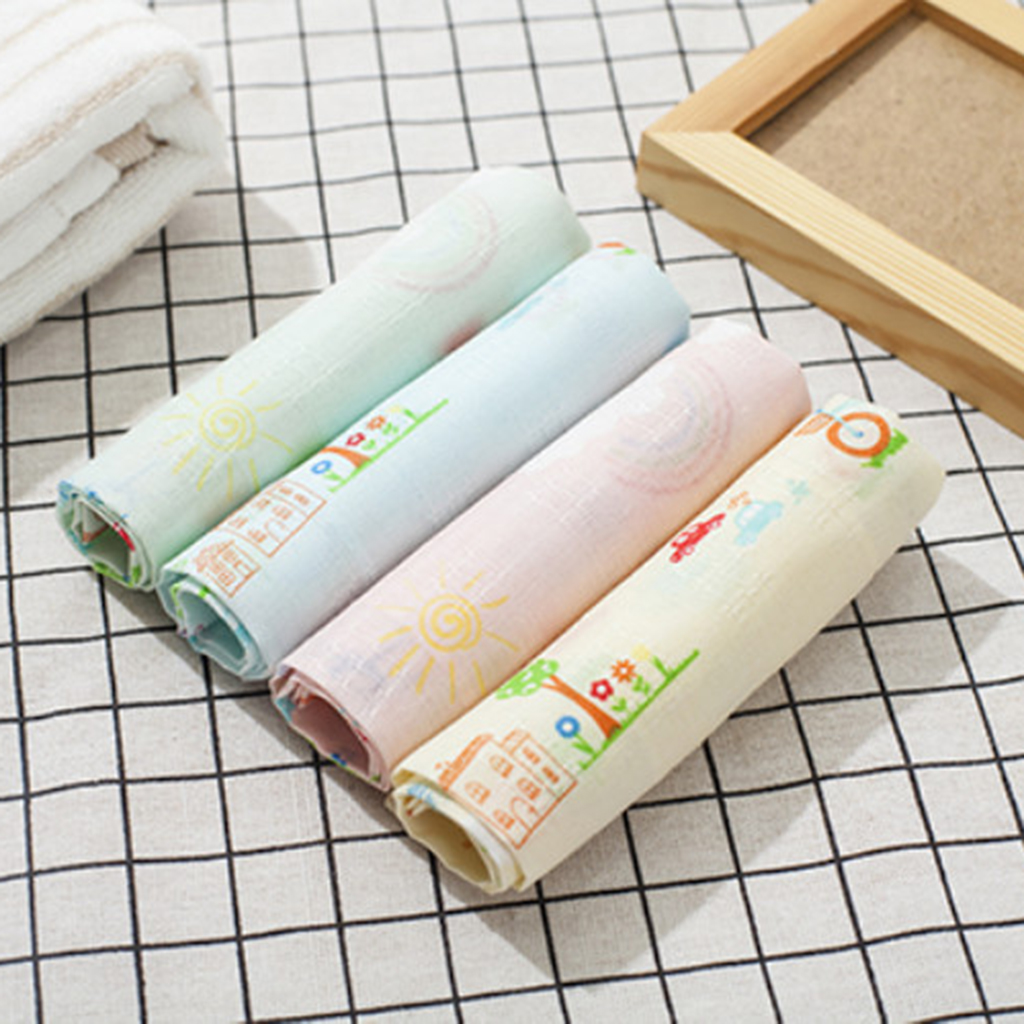 4Pcs Boys Girls Cotton Handkerchiefs Assorted Print Floral Kerchiefs Hanky Vintage Cotton Embroidered Cartoon Hanky Towel