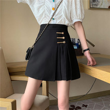 Retro Black Pleated Skirt Women 2021 Spring and Summer New High Waist Slimming Fashion College Style A-Line Skirt
