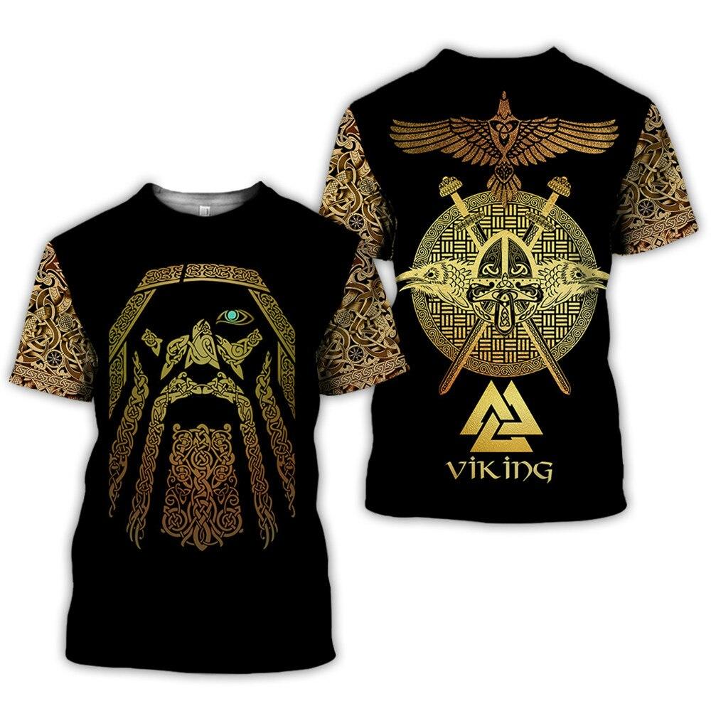 2020 latest Viking symbol printed T-shirt men's summer short-sleeved Harajuku T-shirt men's street hip-hop unisex T-shirt top 01 6