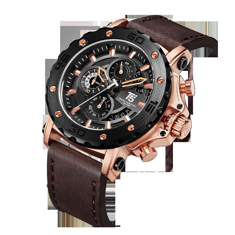 עור רצועת רוז זהב שחור יוקרה מותג T5 קוורץ הכרונוגרף עמיד למים Mens שעון ספורט שעונים שעוני יד גברים