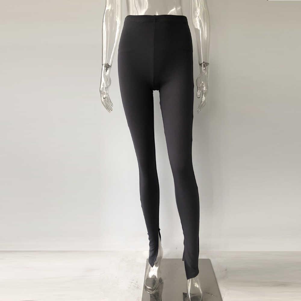 KGFIGU spodnie 2020 jesienno-zimowa szara szczupła spodnie biurowe Casual hem krocza dół zagęścić tkaniny wysokiej jakości