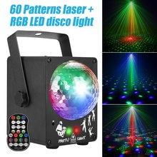 DJ лазер RGB сценический свет проектор светодиодный эффект Лампа Дискотека Рождество праздник бар освещение Вечеринка крытый светильник пульт дистанционного управления
