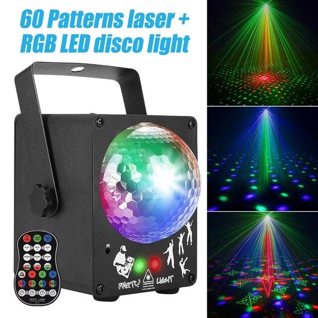 Dj 레이저 rgb 무대 조명 프로젝터 led 효과 램프 디스코 크리스마스 휴일 바 조명 파티 실내 램프 원격