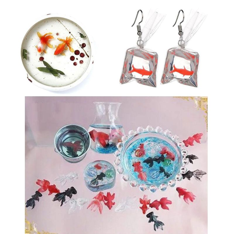 3Pc Mini Size Goldfish Lotus Leaf Earrrings Water Dag DIY Resin Jewelry Mold Kit