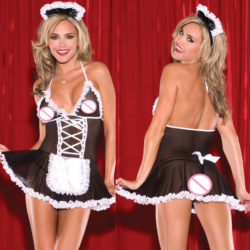 Sexy Cosplay Maid Uniform Costumes Role Play Women Sexy Lingerie <font><b>Hot</b></font> Cosplay Sexy Underwear <font><b>Sex</b></font> Erotic underwear <font><b>Dress</b></font> Sleepwear image