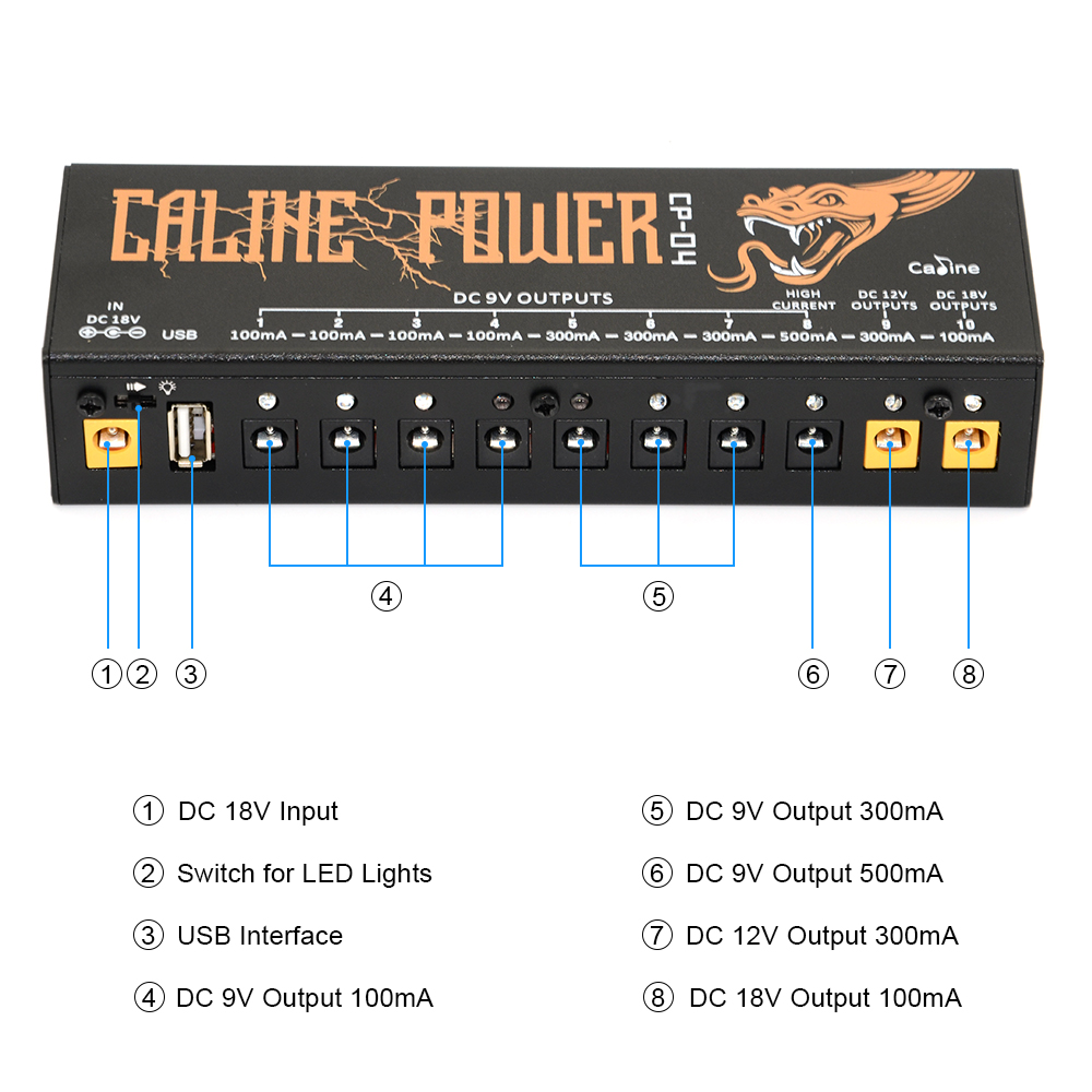 Image 3 - Caline CP 04 Guitar Pedal Power Supply 10 Isolated Output Power Tuner Short Circuit /Over current Protection Guitar Effect Power-in Guitar Parts & Accessories from Sports & Entertainment
