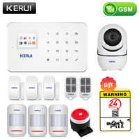 KERUI-sistema de alarma de seguridad GSM para el hogar, Detector de movimiento inalámbrico, Sensor de señal antirrobo, cámara IP
