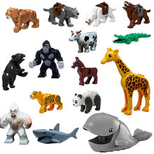 Gorilla horse crocodile shark tiger leopard whale panda wolf saber tooth tiger animal building block toys for child gifts(China)