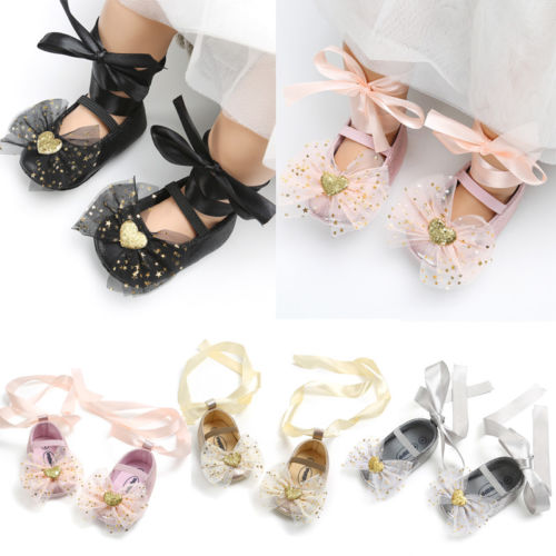 New Lovely Toddler Newborn Baby Girls Boys Shoes Crib Shoes Sequined Bow Floral Slip On Lace Belt Baby Shoes 0-18M