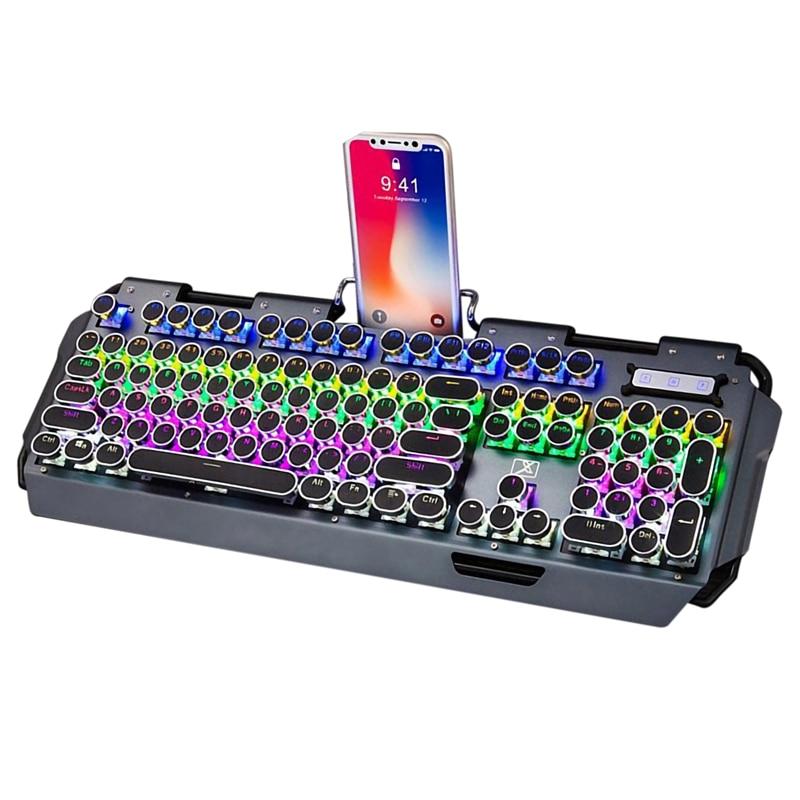 Backlit Gaming Keyboard Mechanical Keyboard Retro Punk Wired Gaming Keyboard Multiple Light Effect for PC Laptop Computer