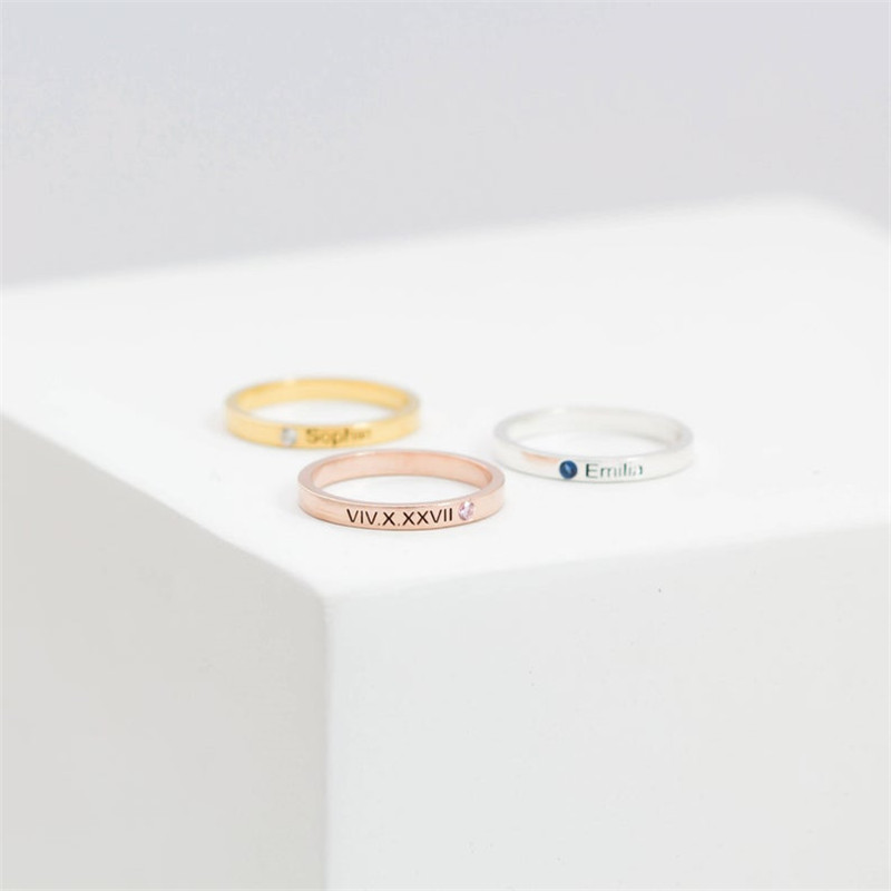 HIYONG Personalized Birthstone Rose Gold Silver Engraved Custom Names Rings Month Jewelry For Adult Ceremony Gifts