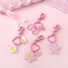 Children Cute Pink Girls Keychain, Magic Wand Heart Key Chain For Women, Japanese Style Flower Jewelry, Bag Accessory(China)