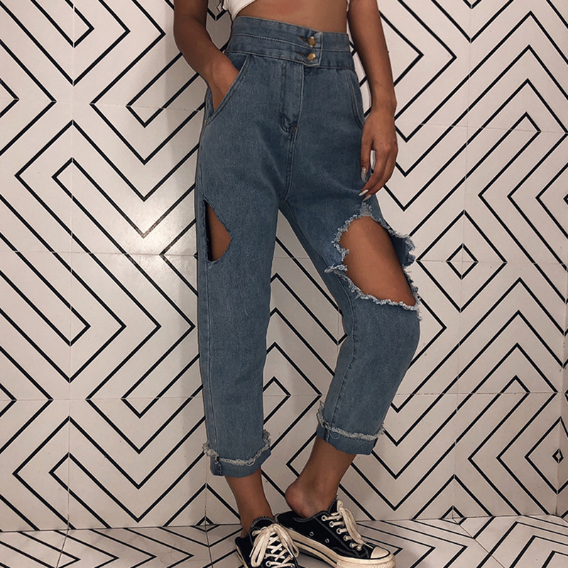 Women High Waist Frayed Jeans Hole Destroyed Ripped Distressed Chain Denim Pants
