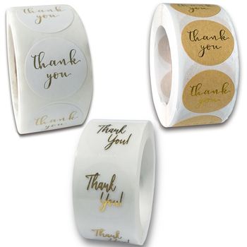 3 Styles 500pcs Gold Foil Thank You Sticker Scrapbooking for Shopping Small Shop Local Handmade Baking Gift Decor Labels - discount item  35% OFF Stationery Sticker