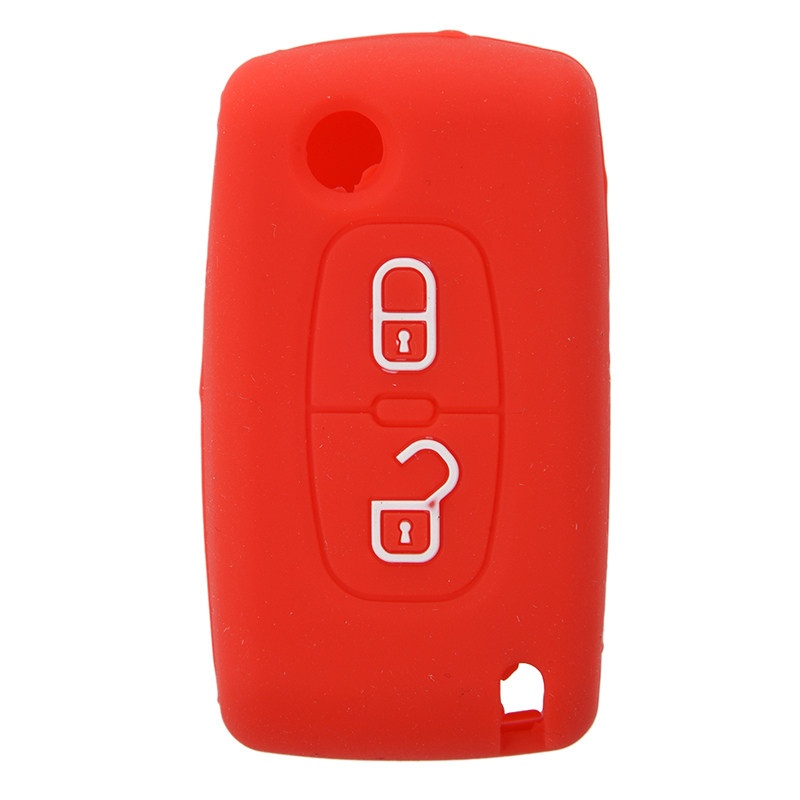 2 Button Remote Key Case Holder Protect Cover For <font><b>Peugeot</b></font> 206 207 <font><b>307</b></font> 308 Silicone <font><b>Red</b></font> image