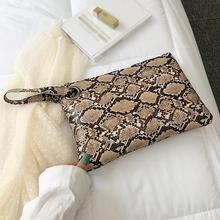 Female Fashion Square Snake Print Wristlet Clutch Women Casual PLeather Handbag Murse PU Phone Bag Wallet for Girls 9.23