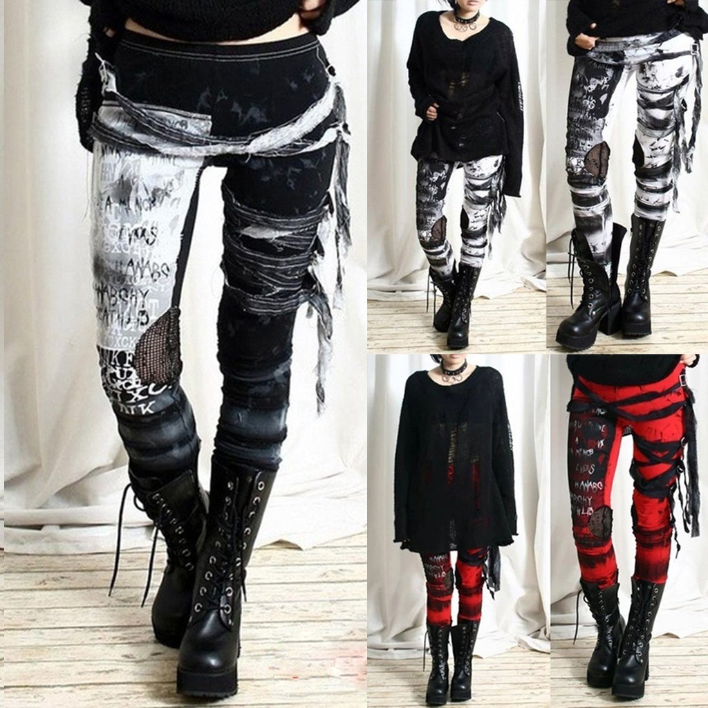 Women's Cool Ultra Gathered Pants Gothic Rocker Distressed Punk Tie Ankle-Length Trousers
