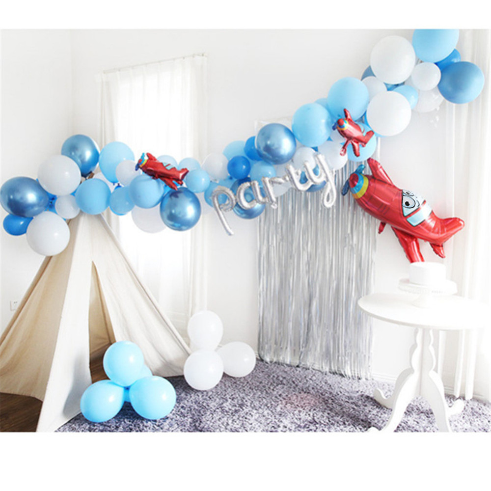 60pcs/set Blue White Cloud Balloons Boy Airplane Toy Birthday Wedding Decor Hawaii Theme Kids Birthday Party Supplies Air Globos image