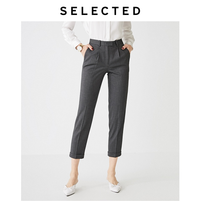 SELECTED Women's Slightly Stretch Plaid Tapered Cropped Pants SIG|419314510