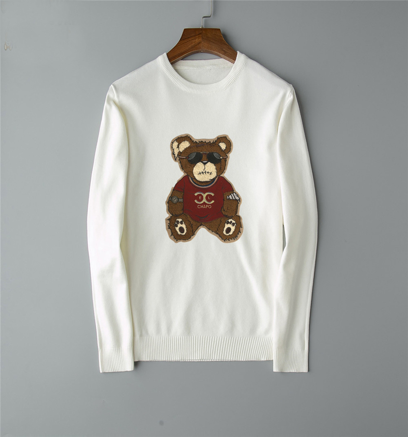 Mens  Fashion Autumn Winter New Sweaters Bear Casual Full O-Neck Pullovers Tops Outwears Clothing