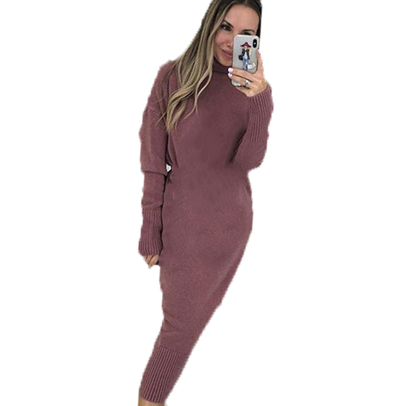 Image 2 - MVGIRLRU Autumn Solid Knitted Sweater Dress Women Stretchy Long Sleeve Knit DressesDresses