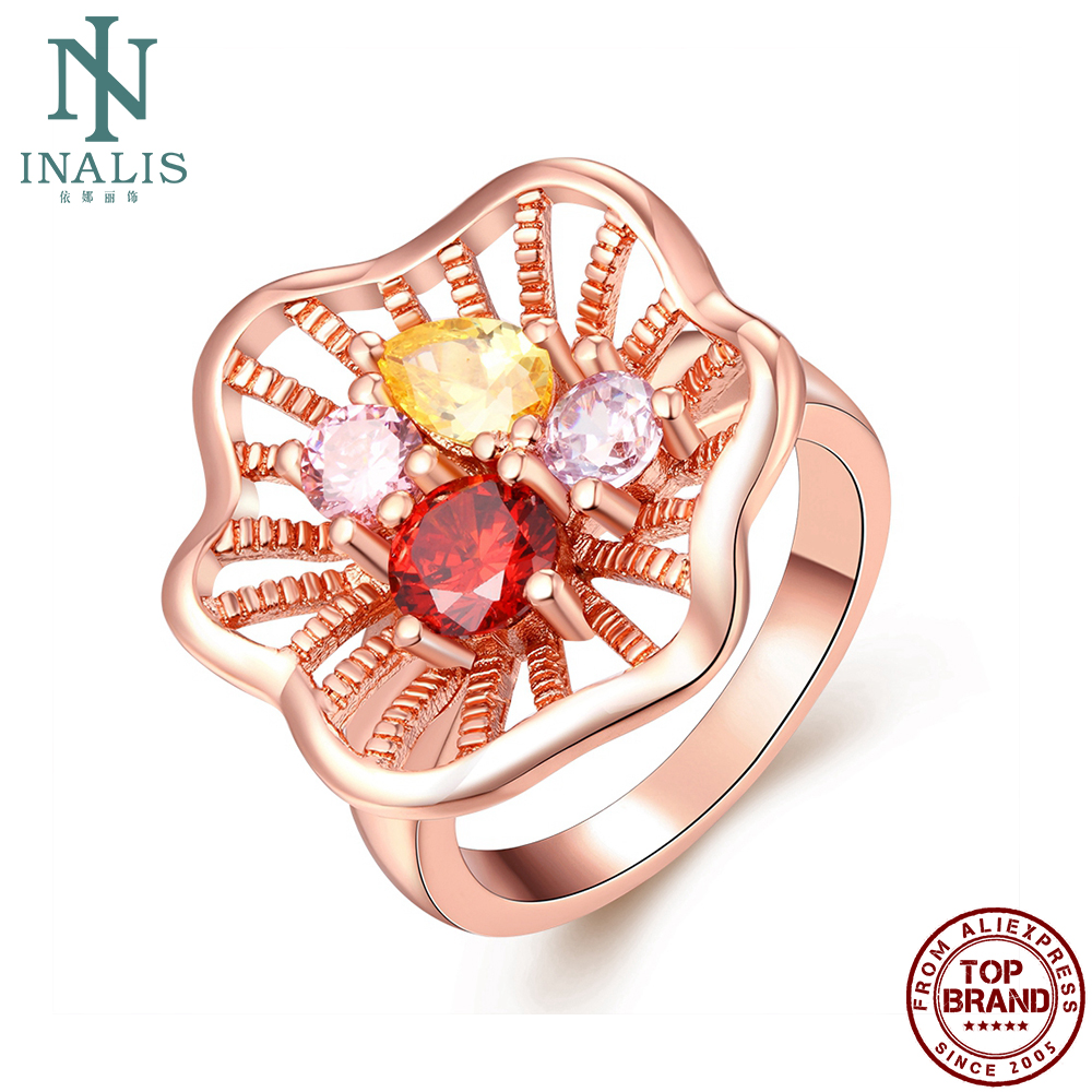 INALIS Hollow Out Rose Gold Plated Flower Rings For Women Clear Cubic Zirconia Romantic Anniversary Female Ring Fashion Jewelry