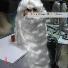 Потрясающий белоснежный Санта-Клаус борода+ парик {набор} украшение на Рождество