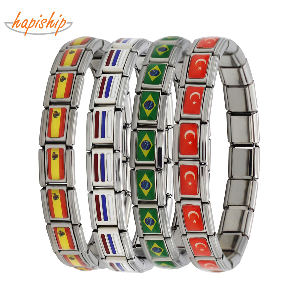 Hapiship 2018 nouvelle mode bijoux espagne/brésil/turquie drapeau National acier inoxydable 18 liens Bracelet Bracelet pour femmes hommes G027