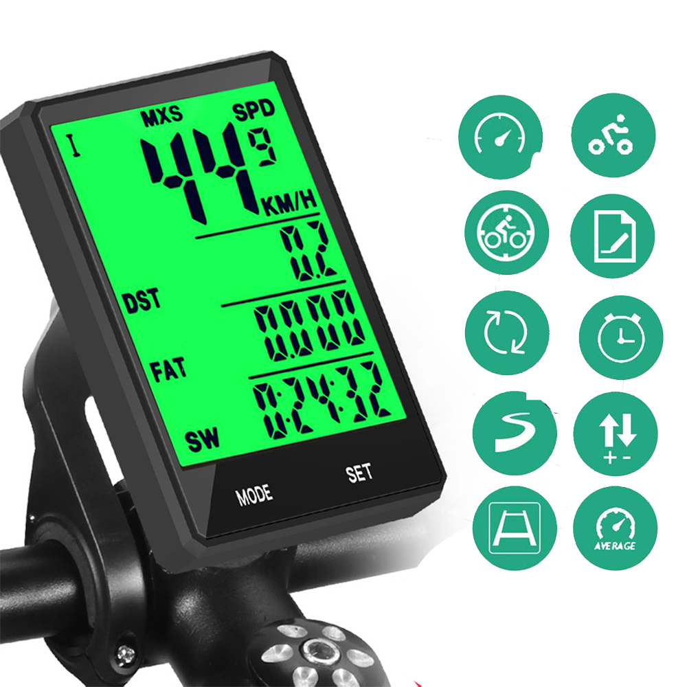 Waterproof Bike Computer Wireless And Wired MTB Bicycle Cycling Odometer Stopwatch Speedometer Watch 2.8 Inch LED Digital Rate
