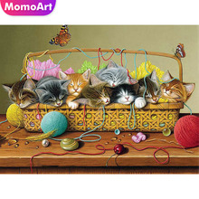 MomoArt Diy Diamond Painting Cat Embroidery Full Drill Square/round Mosaic Cartoon Cross Stitch