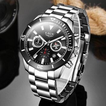 LIGE Men Pilot Watches Luxury Stainless Steel Waterproof Chronograph Fashion Sport Date Quartz For Relogio Masculino