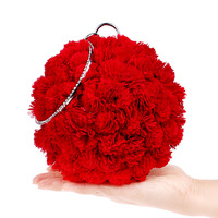 Ougger Mini Formal Bride Bag High Quality Handbags Red Polyester Classic Chinese Style Round Bag with Flowers