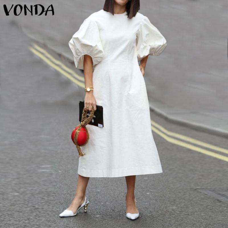 Summer Dress 2020 VONDA Women Casual O Neck Short Lantern Sleeve Long Dresses Plus Size Bohemian Party Vestidos Solid Color Robe