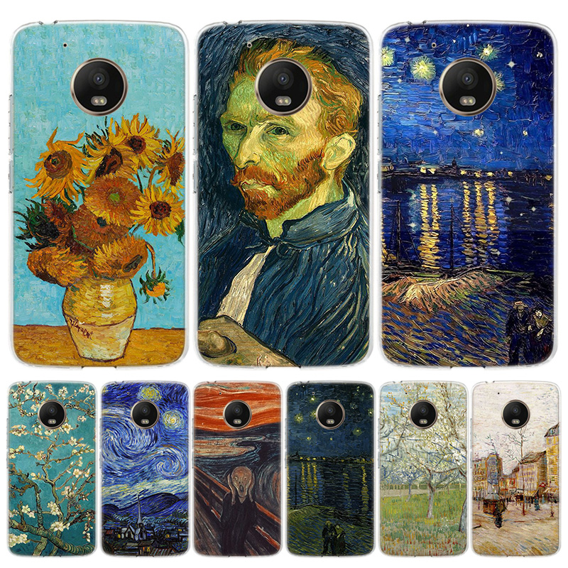 Van Gogh Oil Painting Cover Phone Case For Motorola Moto G8 G7 G6 G5S G5 E6 E5 E4 Plus G4 Play EU One Action X4 Pattern Coque