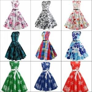Image 5 - Fashion Women Floral Print Sleeveless Party Dress Simple Knee Length Print Graduation Dress