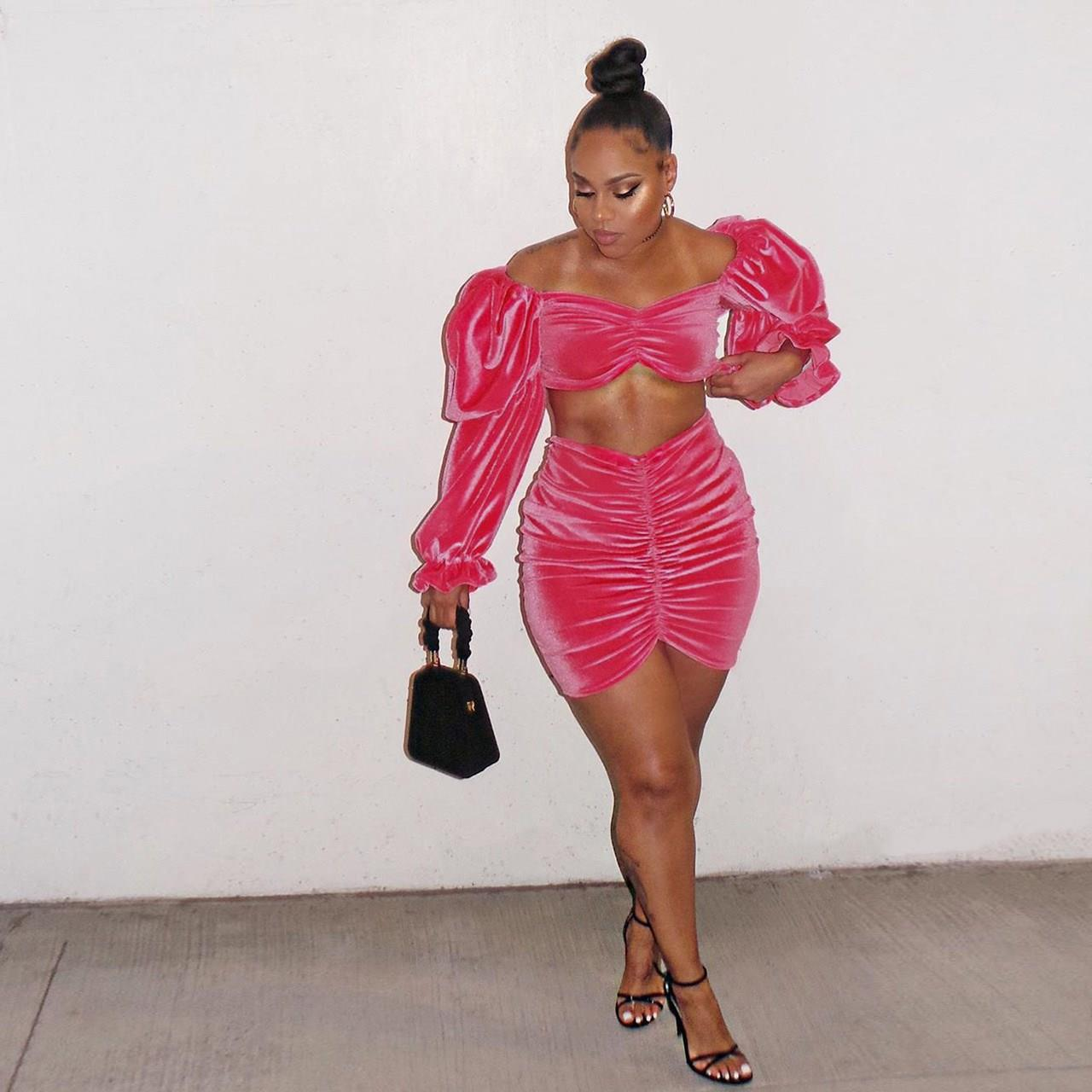 Two Piece Outfits Velvet Pop Pink 2 Piece Set Short Crop Top And Mini Skirt Matching Sets