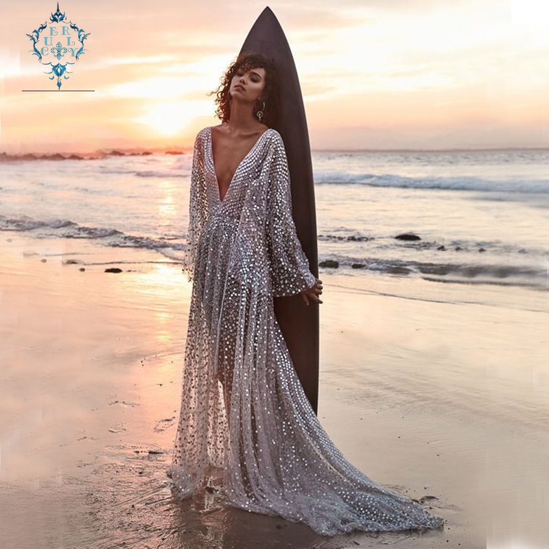 CURLY 2019 summer silver colour single-breasted maxi women dress sexy light perspective deep V-neck long-sleeve gilded dresses