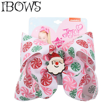 7 Jumbo Hair Bows for Girls with Clips Christmas Printed Bowknot Lovely Glitter Santa Claus Hairgrips Party Kids Headwear
