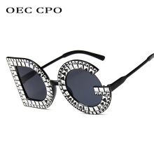 OEC CPO Ladies Luxury Crystal Diamond DG Oversized Sunglasses Women Fashion Letter Square for Party UV400 O140