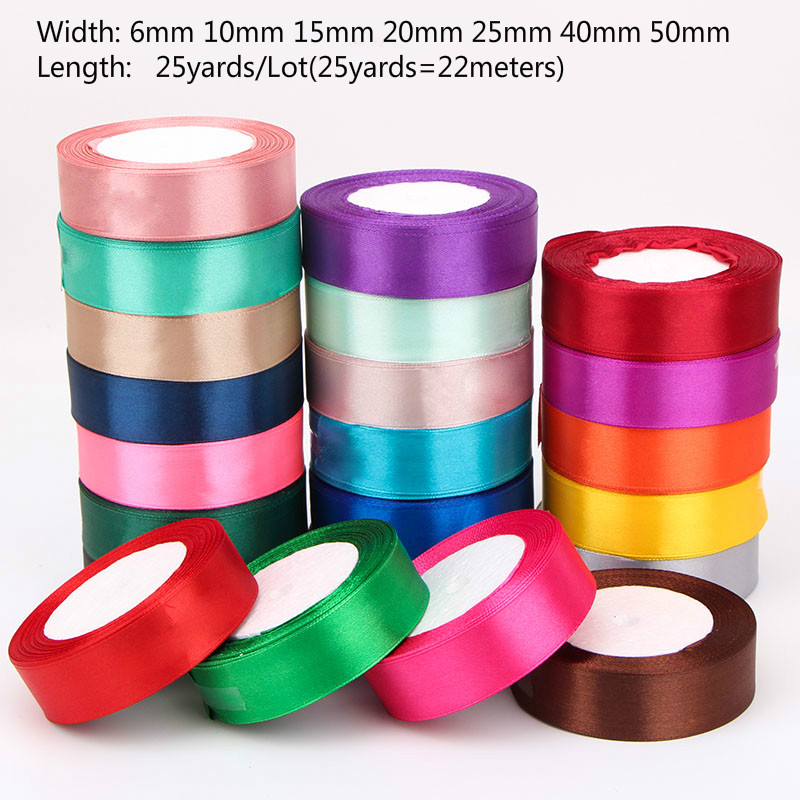 (25 Yards/roll) Silk Satin Ribbons Gift Wrapping Decoration Christmas Ribbons DIY Handmade Supplies Ribbon 6/10/15/20/25/40/50mm