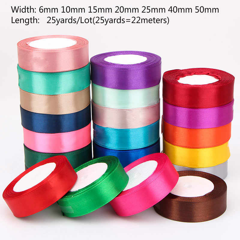 (25 Yards/roll) Silk Satin Ribbons Gift Wrapping Decoration Christmas Ribbons DIY Handmade Supplies Ribbon 6/10/15/20/25/40/50mm